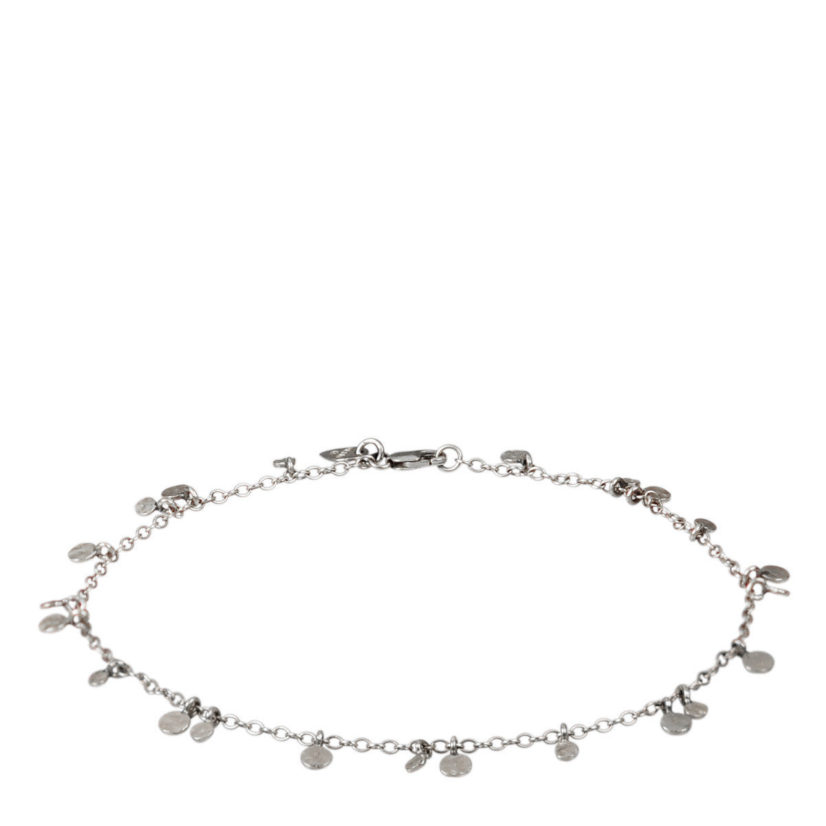 Sterling Silver Tiny Hammered Disc Anklet