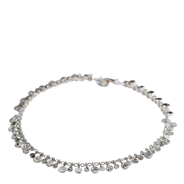Sterling Silver Full Tiny Hammered Disc Anklet