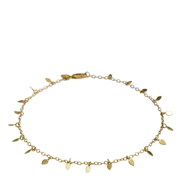 18K Gold Tiny Petal Anklet