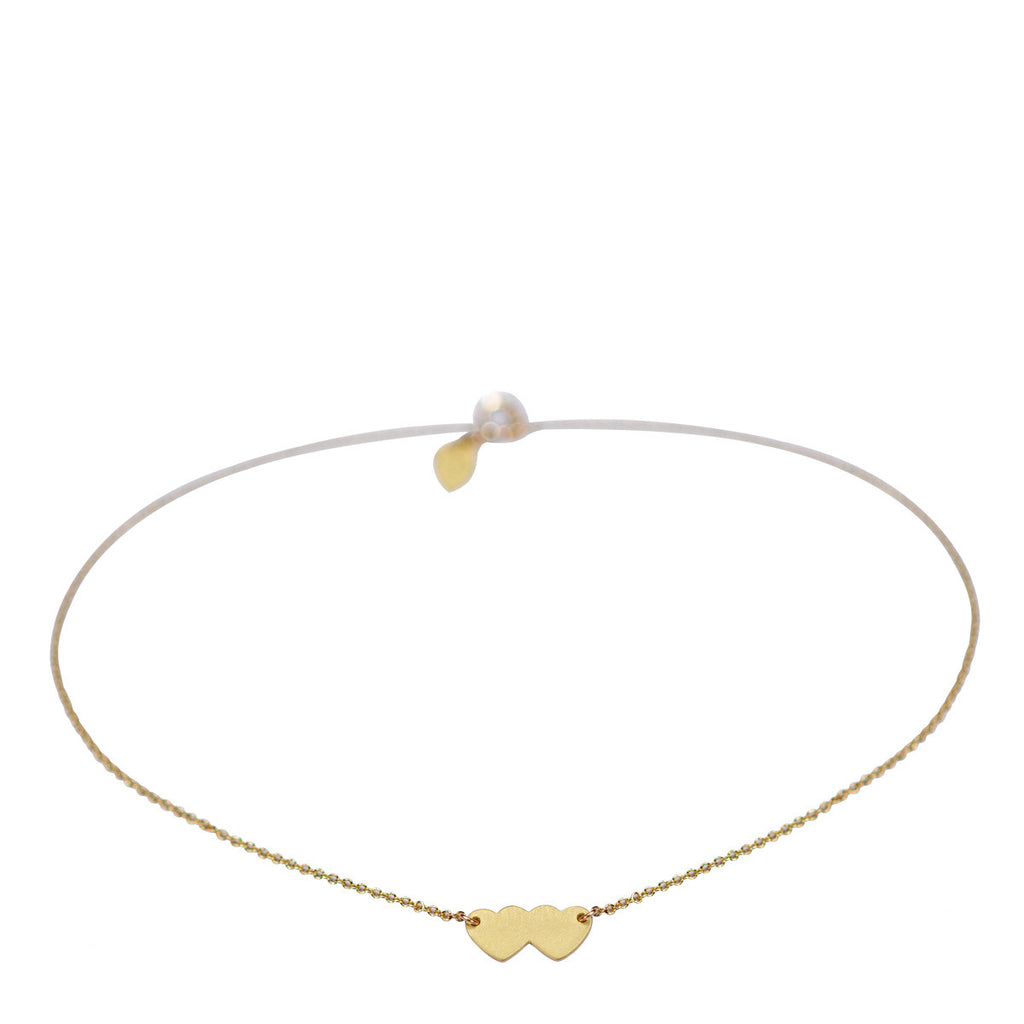 18K Gold Small Double Heart Anklet