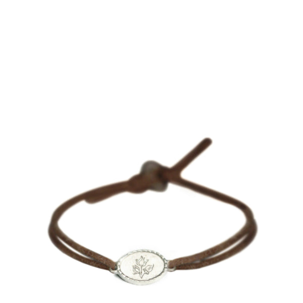 Children's Sterling Silver Flower Bud ID Bracelet on Cord