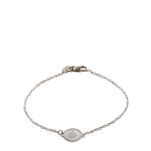 Children's Sterling Silver Flower Bud ID Bracelet on Chain