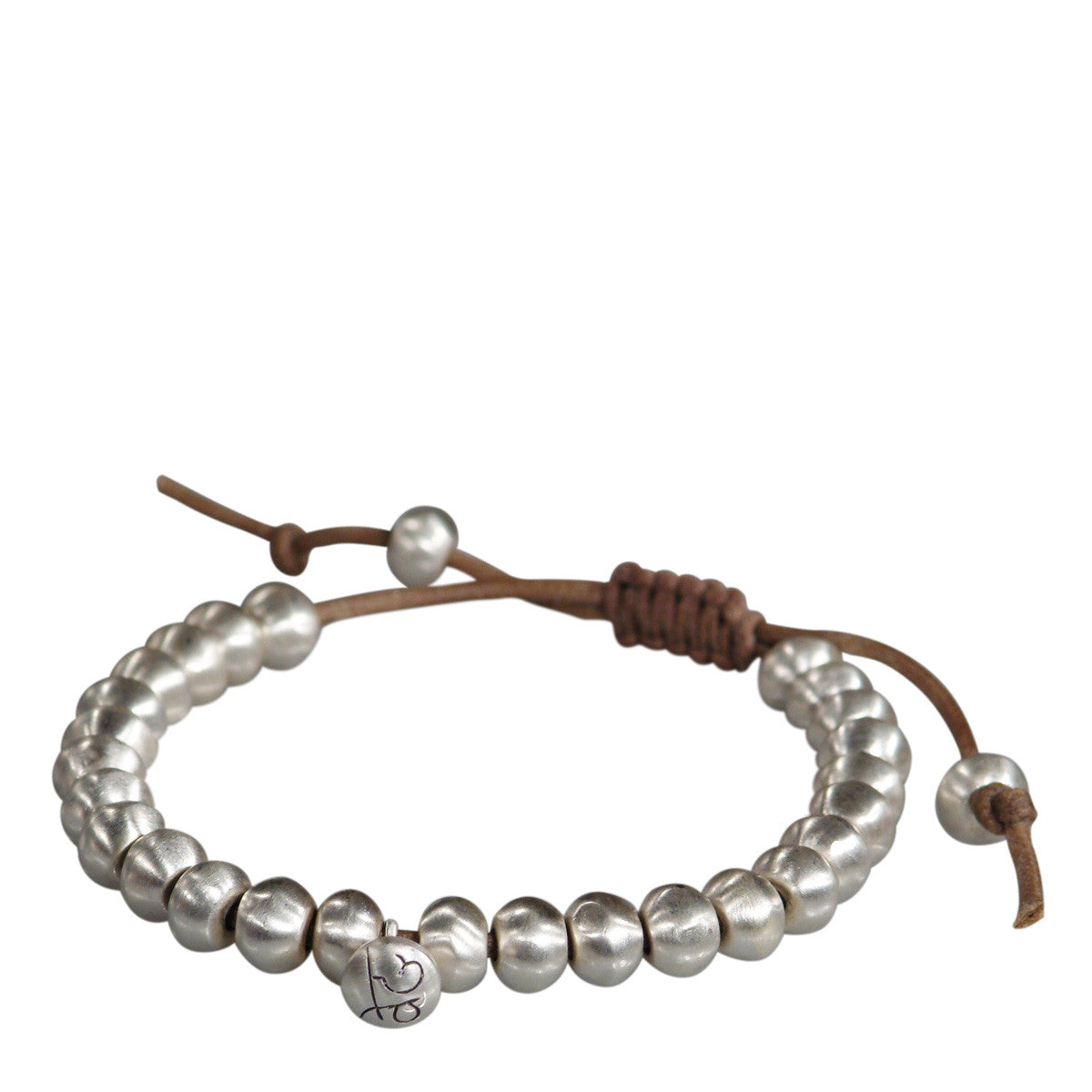 Men's Sterling Silver Wisdom Beads Bracelet on Cord