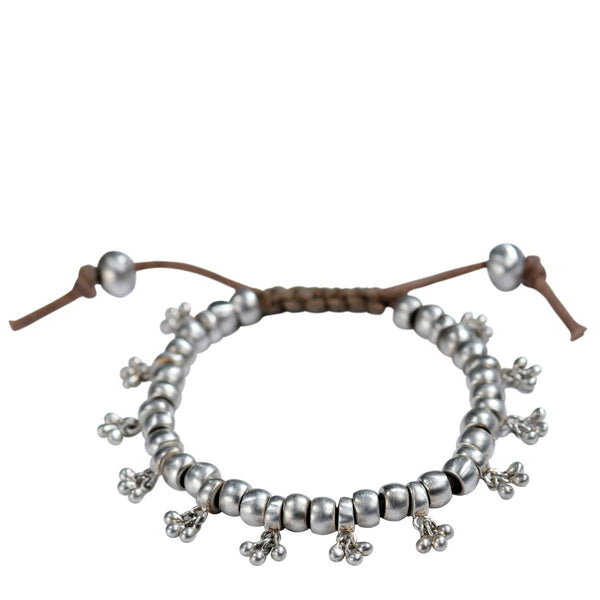 Sterling Silver Cluster Bead Bracelet on Cord