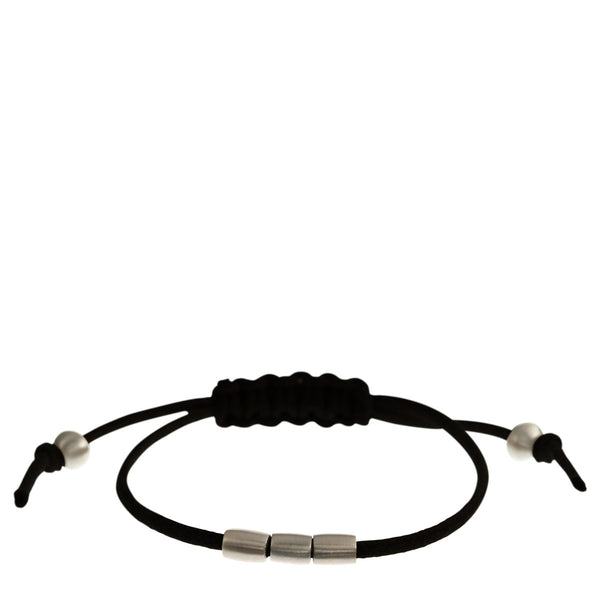 Sterling Silver 3 Bead Bracelet on Black Cord