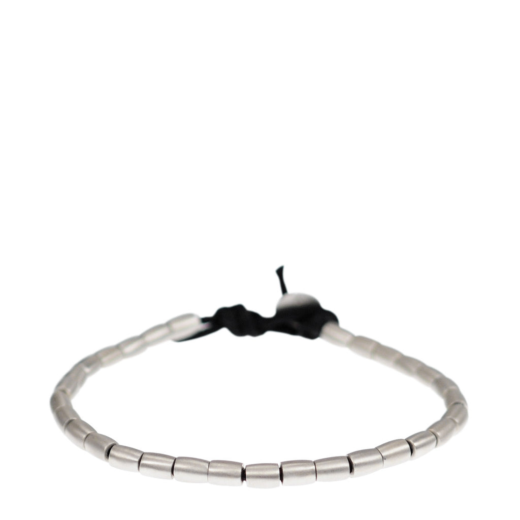 Men's Sterling Silver Simple Tube Bracelet on Black Cord