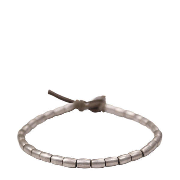 Men's Sterling Silver Simple Tube Bracelet on Natural Cord