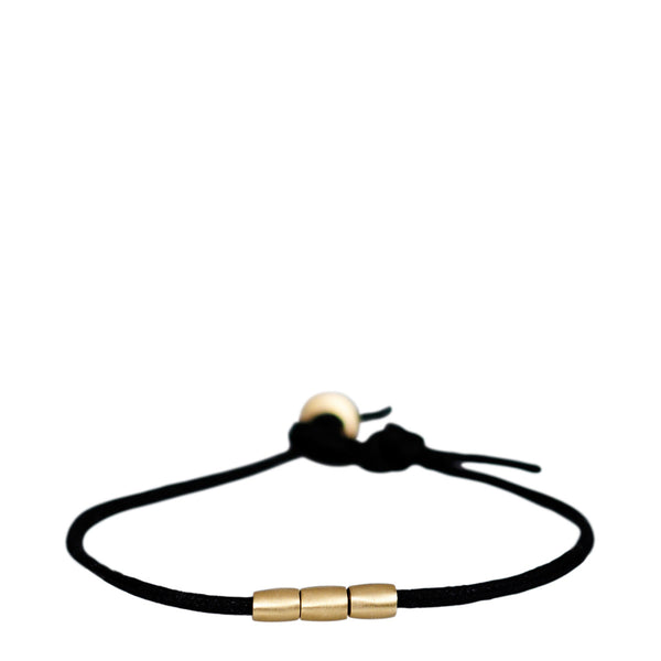 Men's 10K Gold 3 Bead Bracelet on Cord