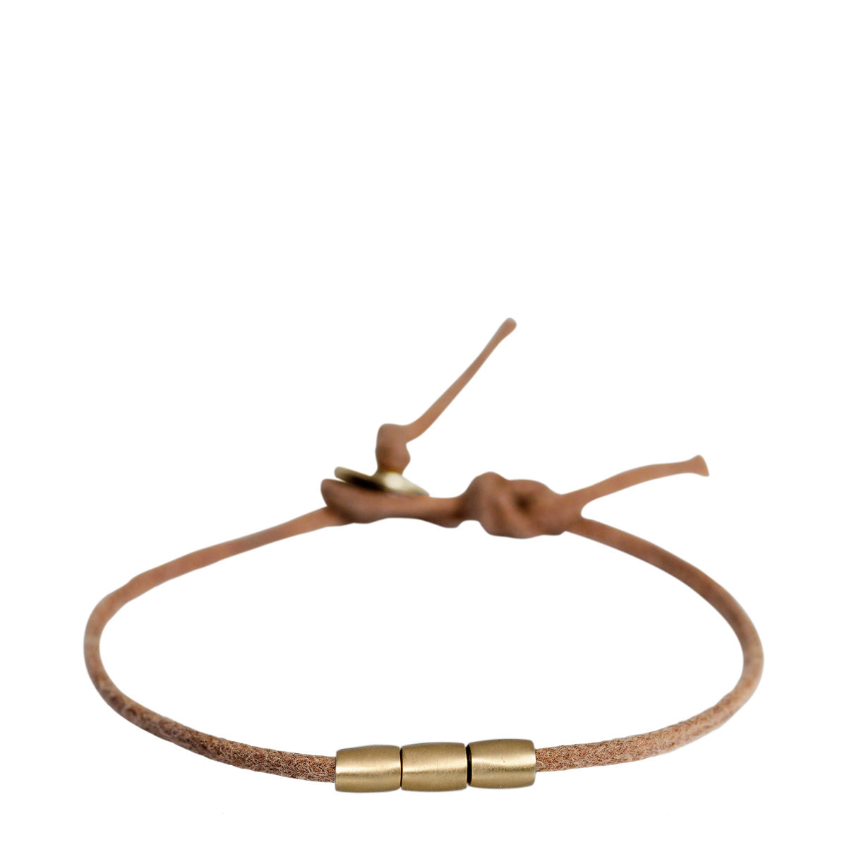 Men's 10K Gold 3 Bead Bracelet on Natural Cord
