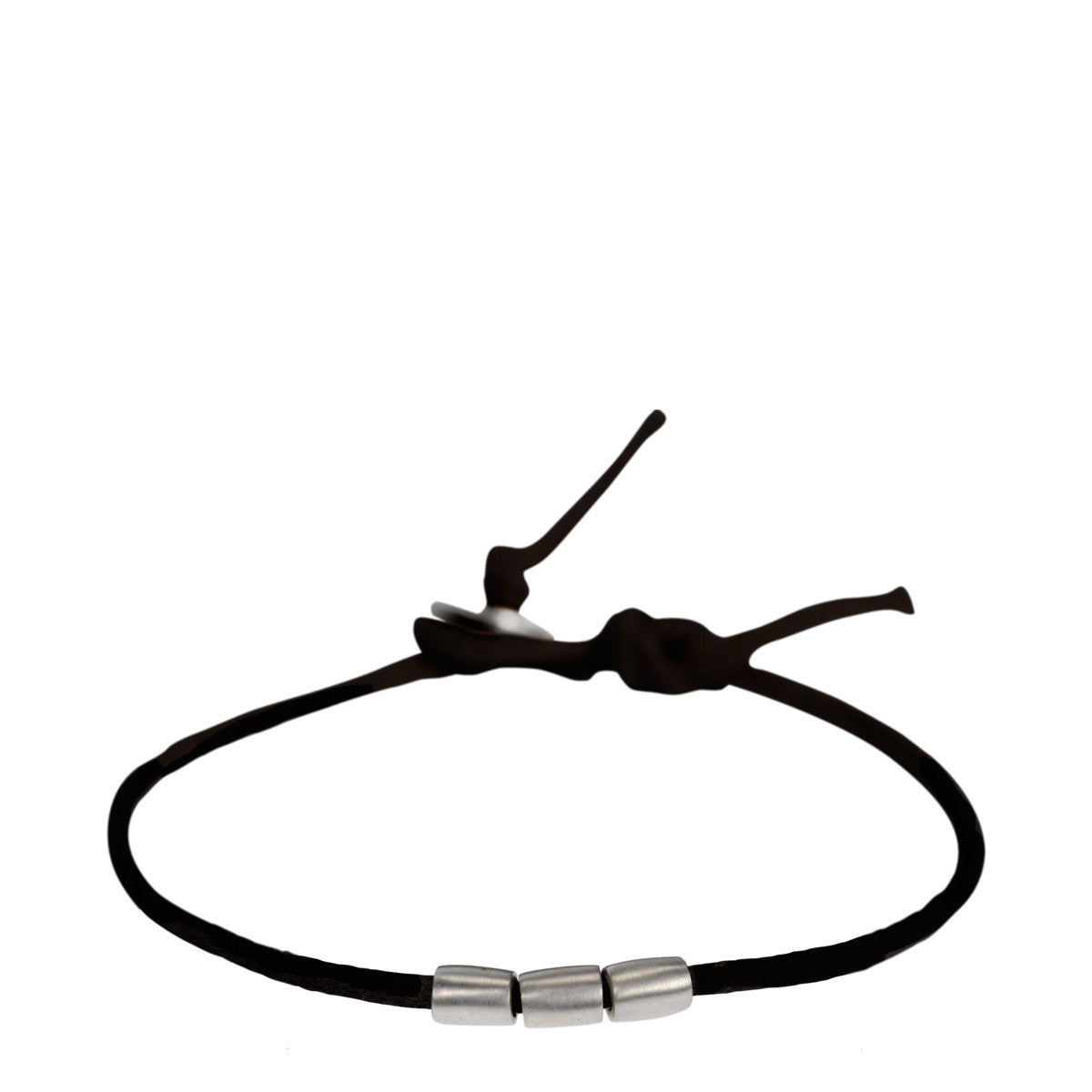 Men's Sterling Silver 3 Bead Bracelet on Black Cord