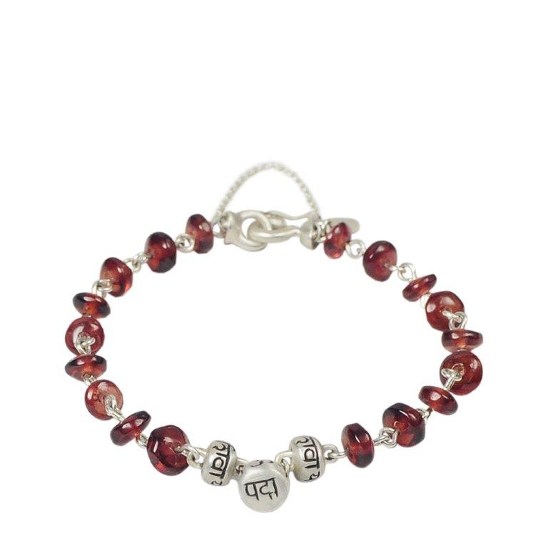 Sterling Silver 3 Mantra Bead Bracelet in Garnet