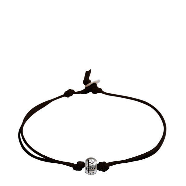 Sterling Silver Ahimsa Bead Bracelet on Black Cord