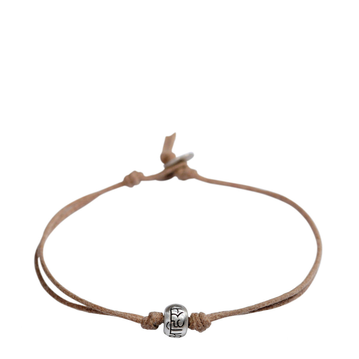 Men's Sterling Silver Ahimsa Bead Bracelet on Natural Cord