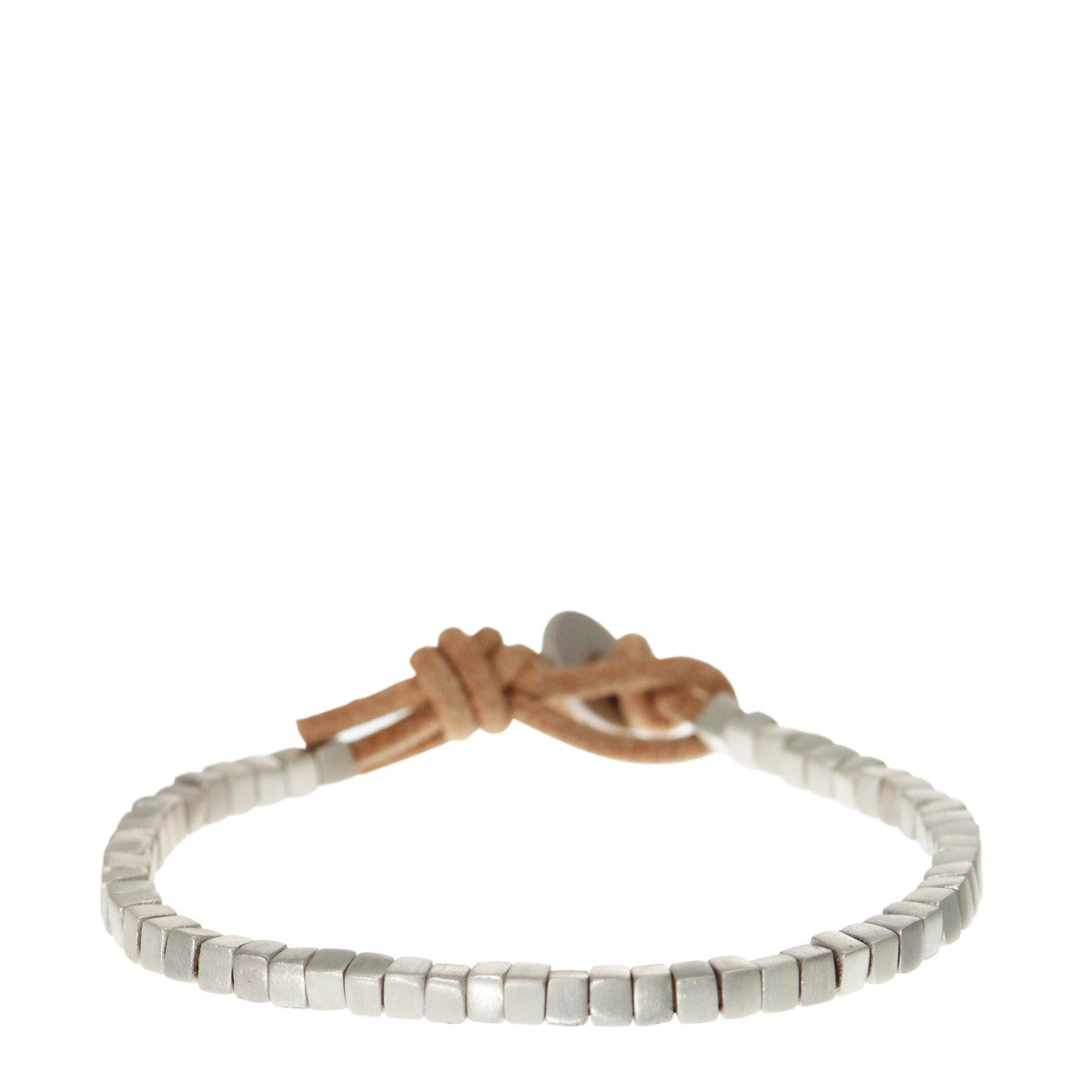 Sterling Silver Square Bead Bracelet on Natural Leather