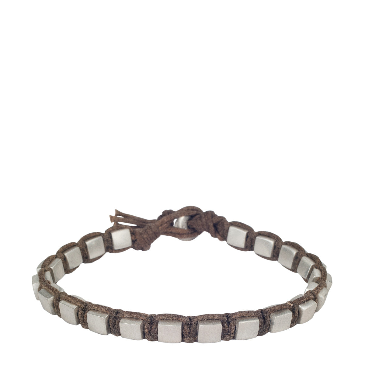 Men's Sterling Silver Heavy Woven Square Bracelet on Natural Cord