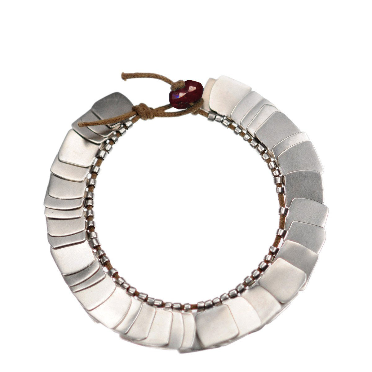Sterling Silver Full Flattened Metal Bracelet on Cord with Ruby Bead Closure