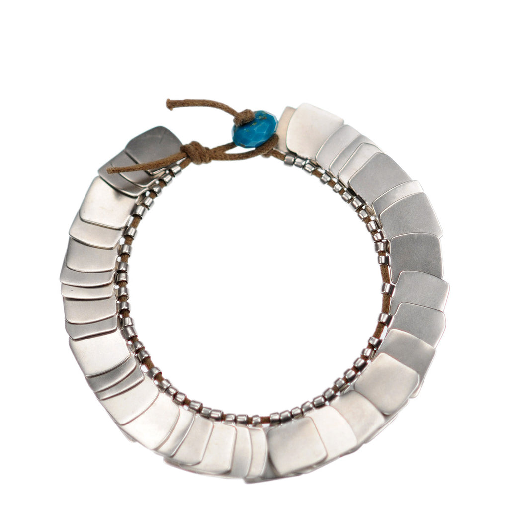Sterling Silver Full Flattened Metal Bracelet on Cord with Turquoise Bead Closure