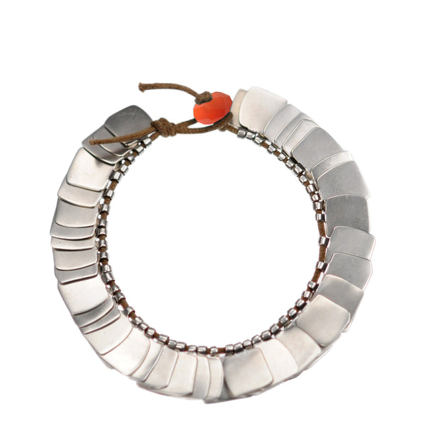 Sterling Silver Full Flattened Metal Bracelet on Cord with Carnelian Bead Closure