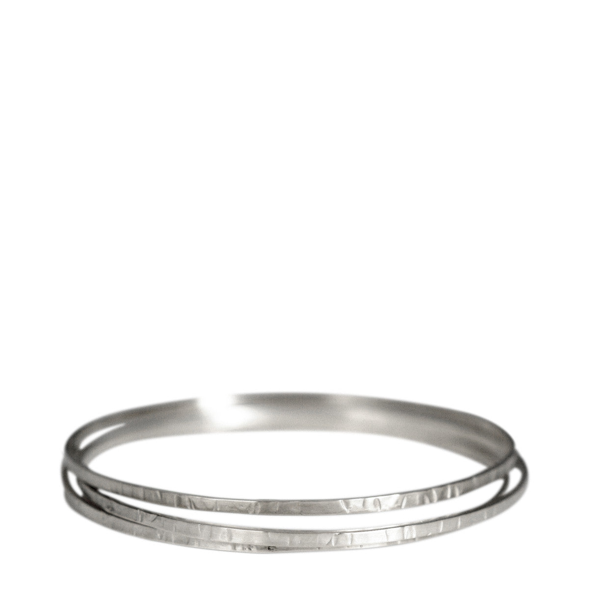 Sterling Silver Flattened Bangles (Set of 3)
