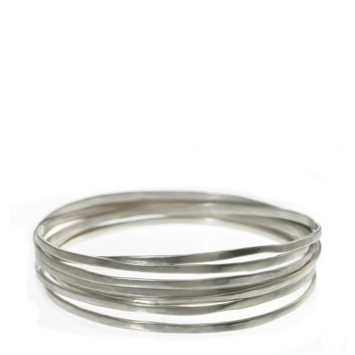 Sterling Silver Flattened Bangles (Set of 7)