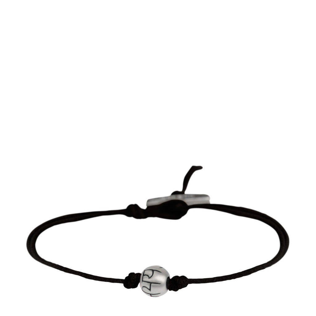 Sterling Silver Fearlessness Bead Bracelet on Black Cord