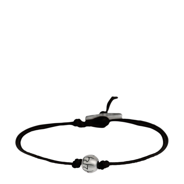 Men's Sterling Silver Fearlessness Bead Bracelet on Black Cord