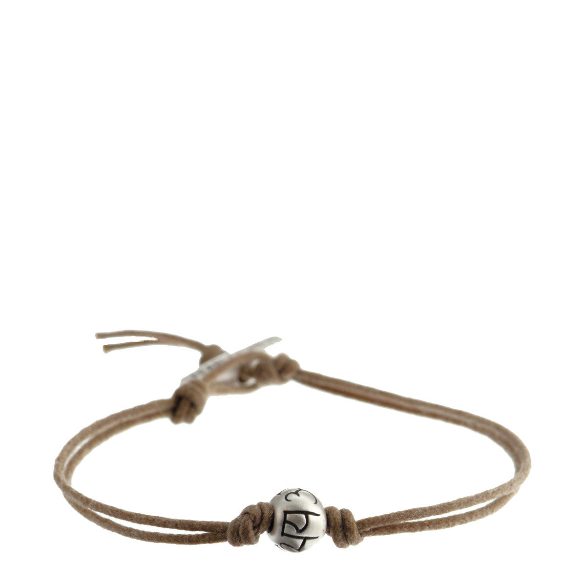 Men's Sterling Silver Fearlessness Bead Bracelet on Natural Cord