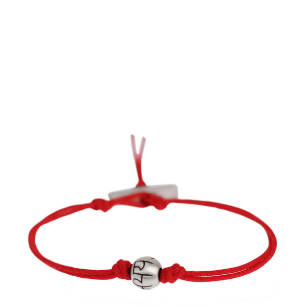 Men's Sterling Silver Fearlessness Bead Bracelet on Red Cord