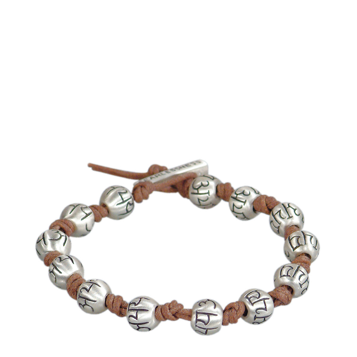 Men's Sterling Silver Full Fearlessness Bead Bracelet on Natural Cord