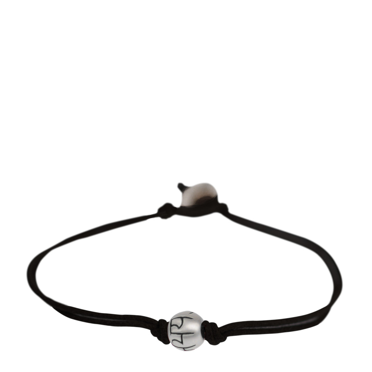 Men's Sterling Silver Fearlessness Bead Bracelet on Black Cord with Button Closure
