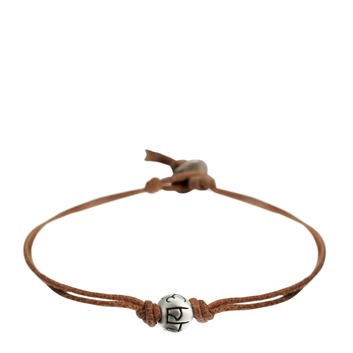 Men's Sterling Silver Fearlessness Bead Bracelet on Natural Cord with Button Closure