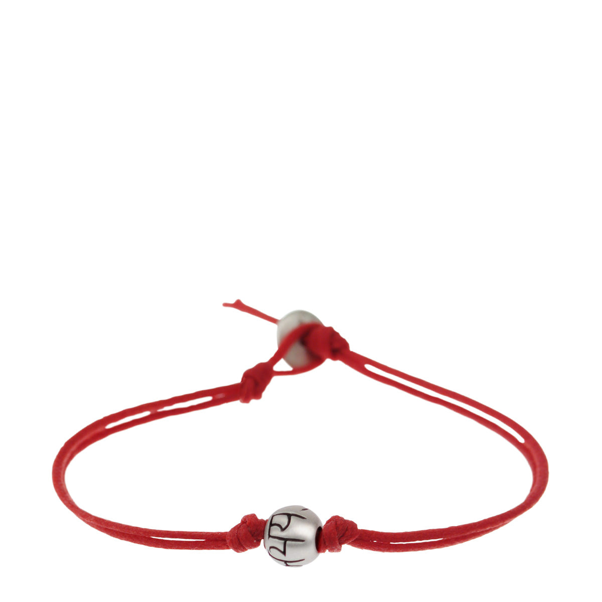 Men's Sterling Silver Fearlessness Bead Bracelet on Red Cord with Button Closure