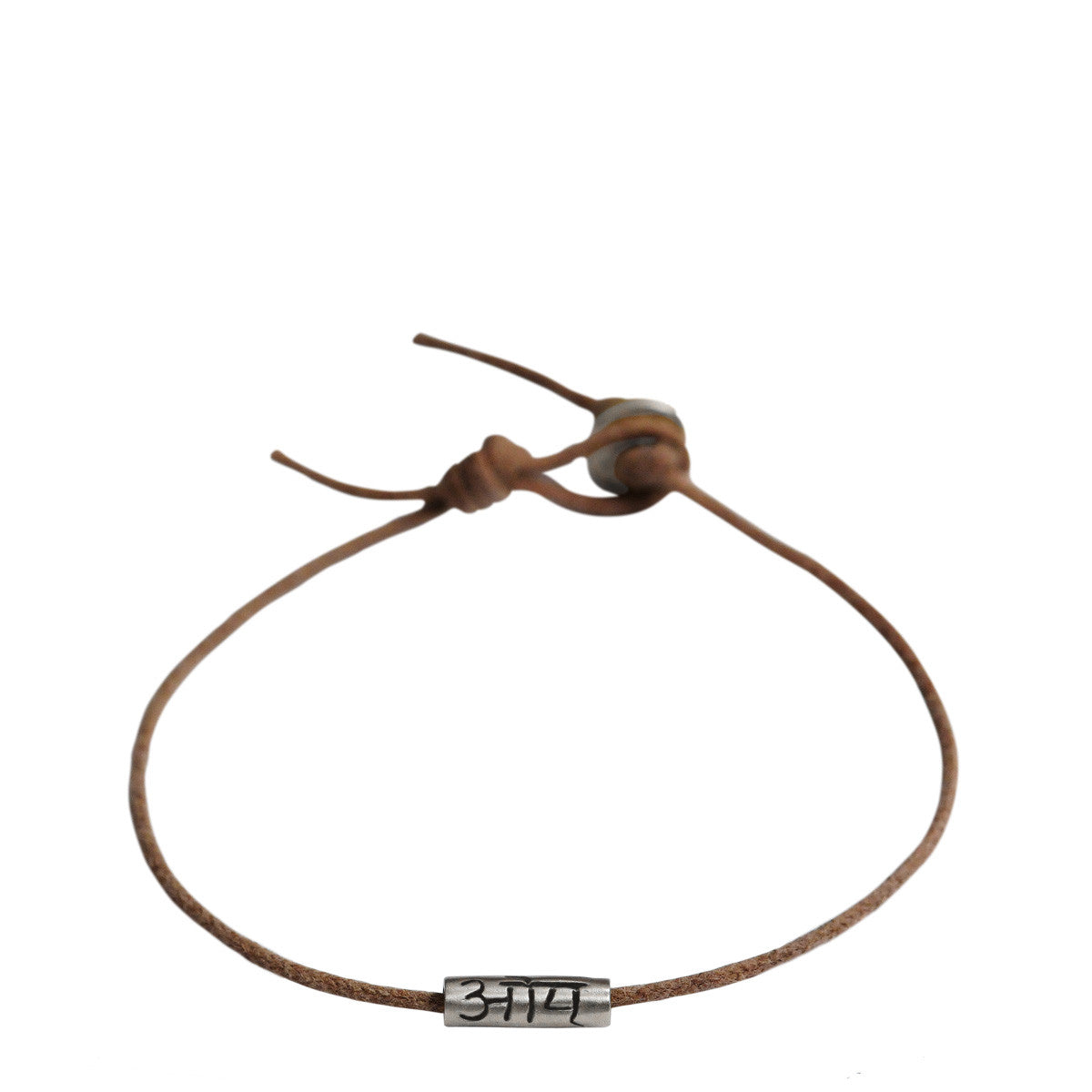 Men's Sterling Silver Om Tube Bracelet on Natural Cord