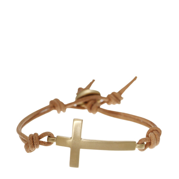 Men's 10K Gold Cross Bracelet on Natural Leather