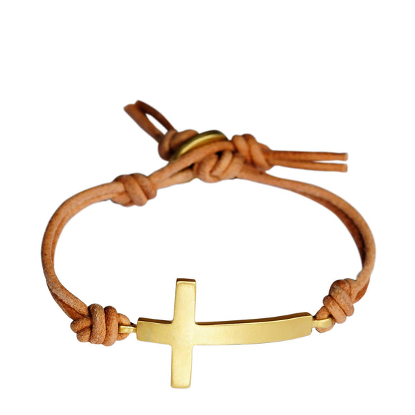 18K Gold Cross Bracelet on Natural Leather