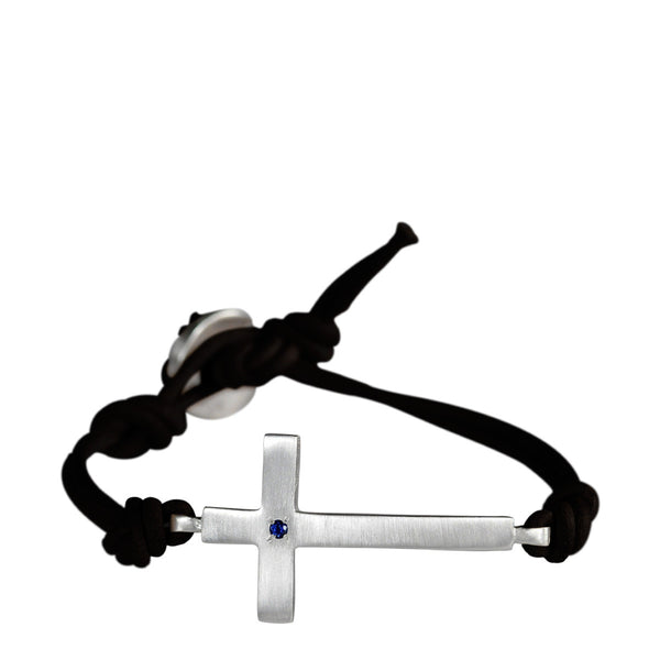 Sterling Silver Cross Bracelet with Sapphire on Black Leather