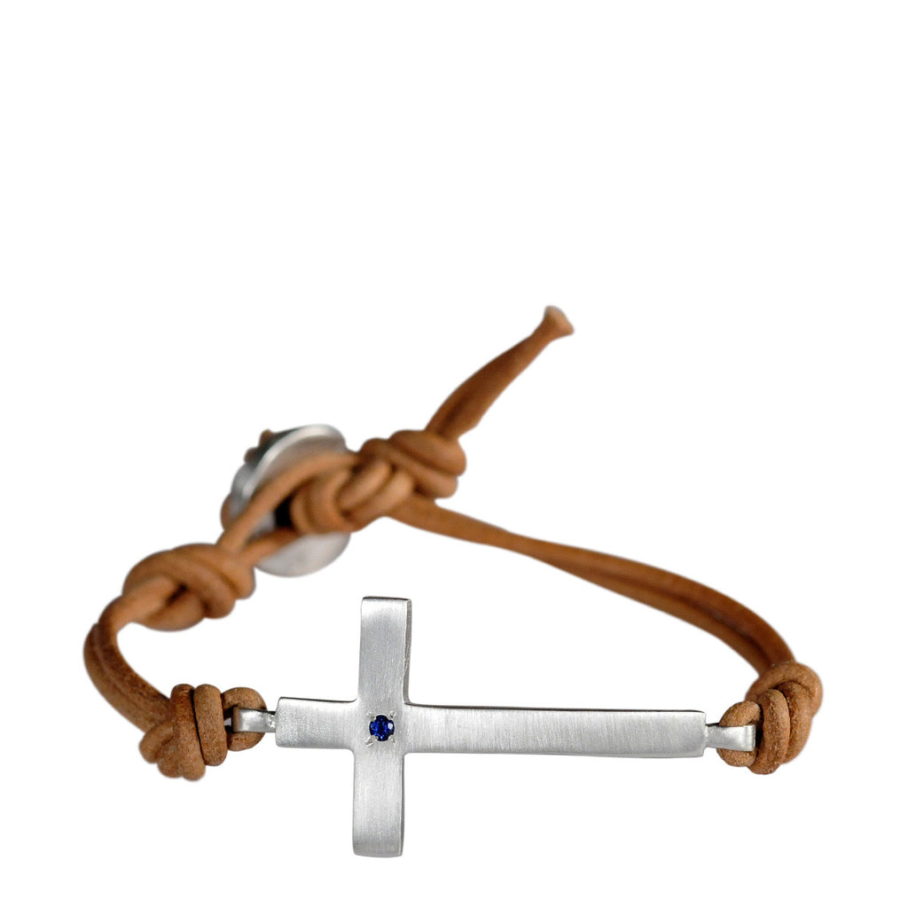 Sterling Silver Cross Bracelet with Sapphire on Natural Leather