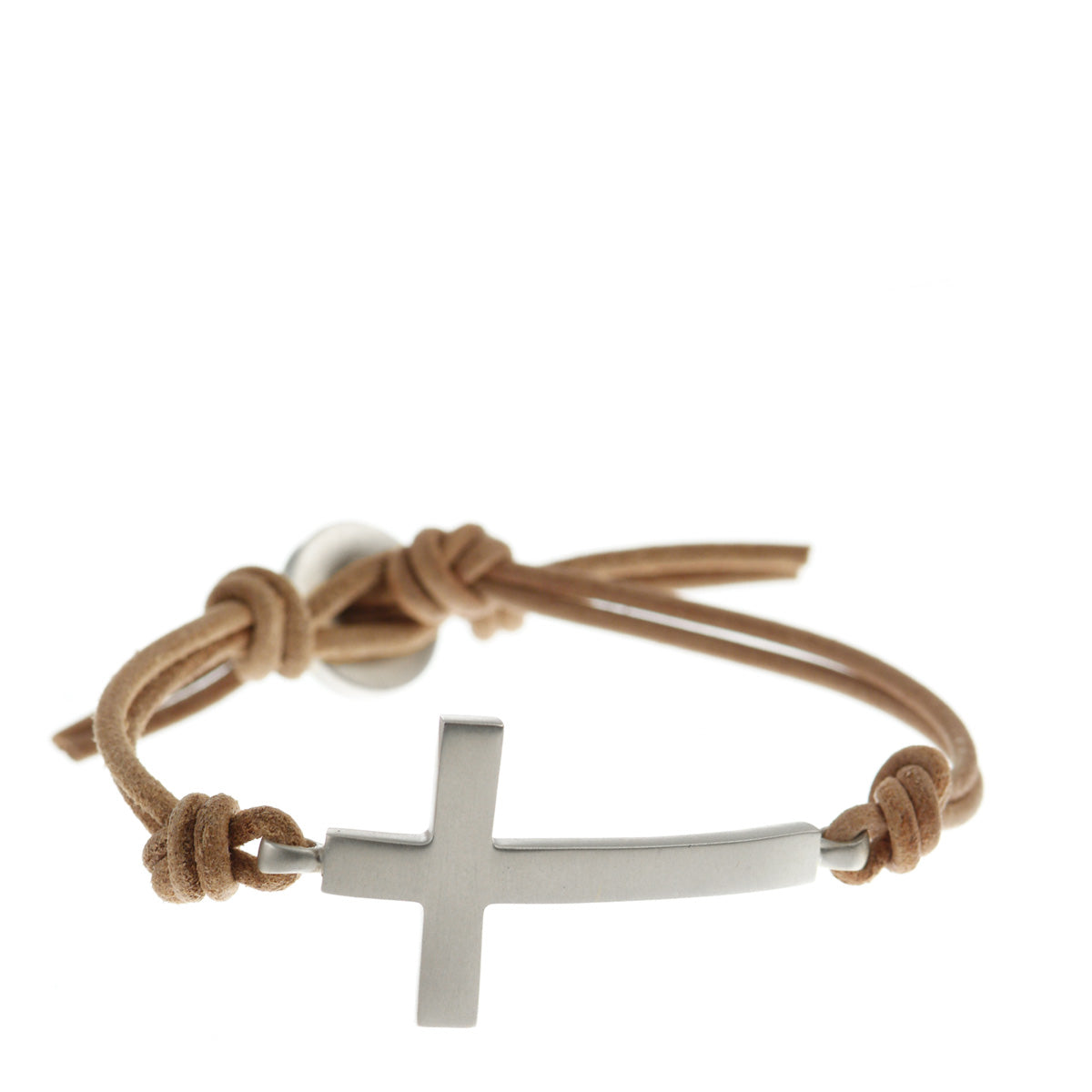 Men's Sterling Silver Cross Bracelet on Natural Leather