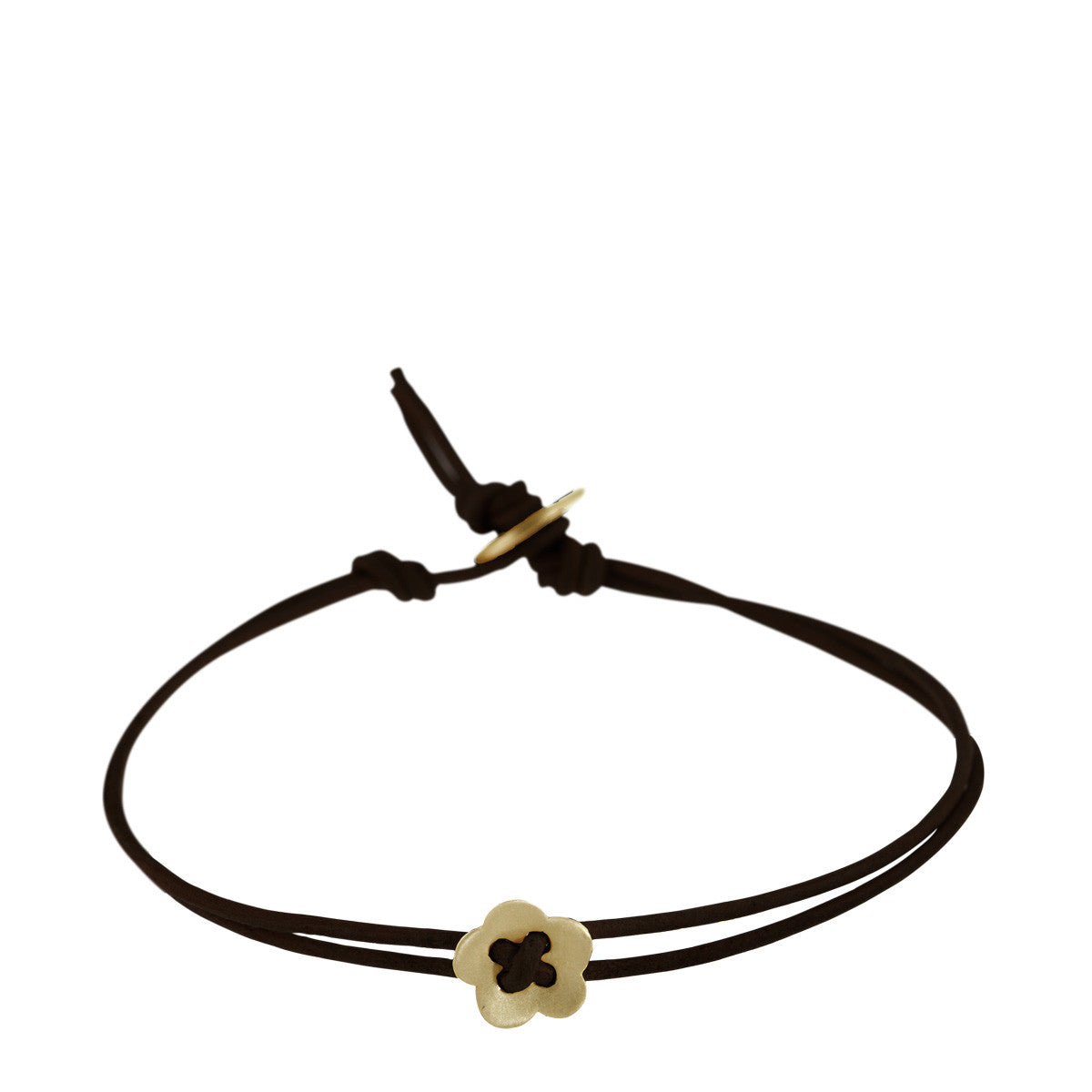 10K Gold Small Single Flower Bracelet on Black Cord