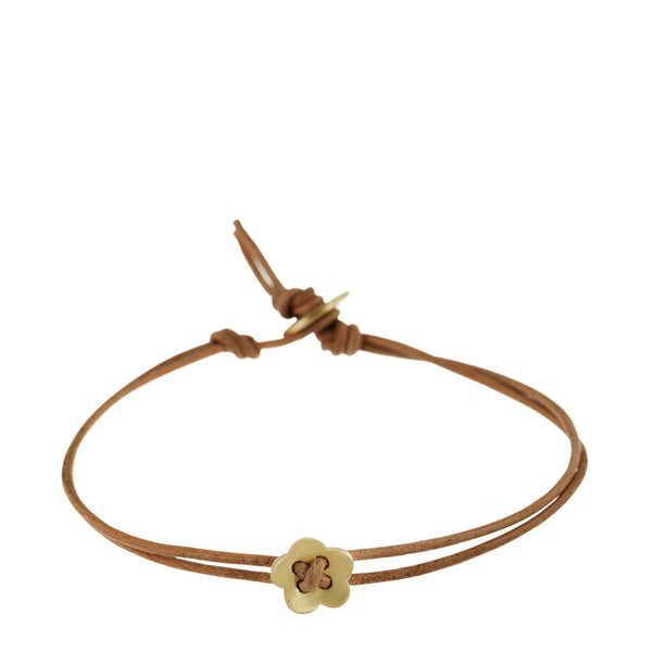 10K Gold Small Single Flower Bracelet on Natural Cord