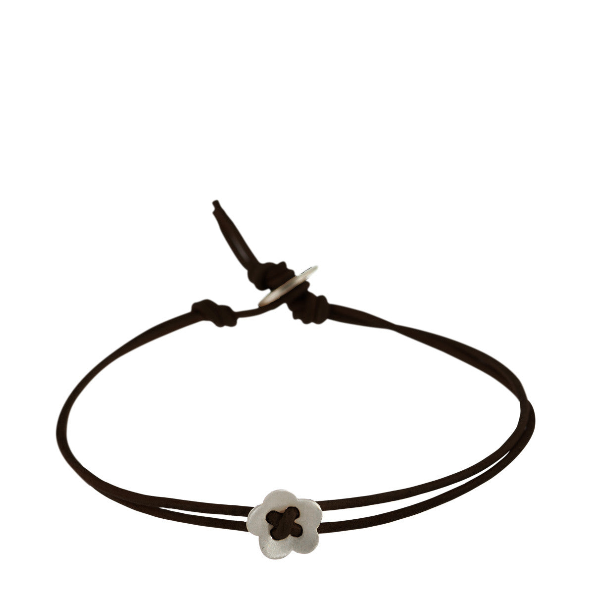 Sterling Silver Small Single Flower Bracelet on Black Cord
