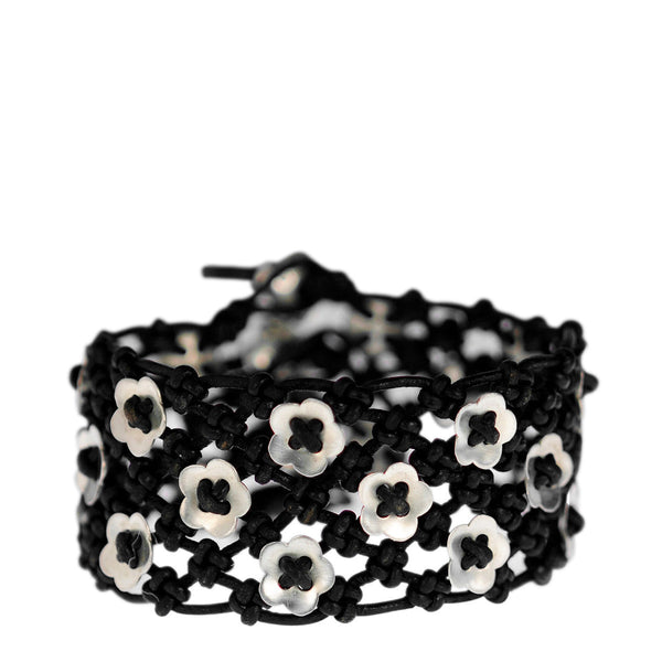 Sterling Silver Wide Woven Flower Bracelet on Black Leather