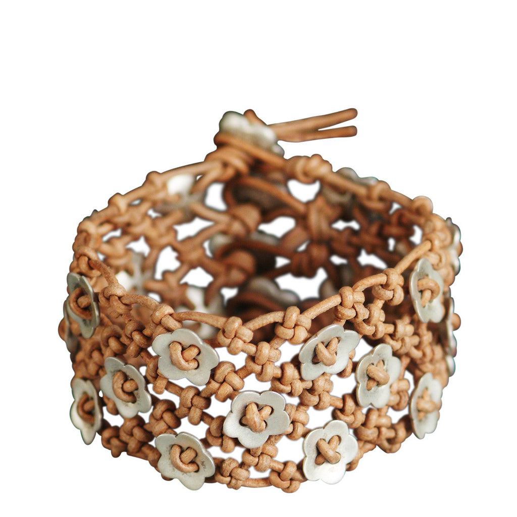 Sterling Silver Wide Woven Flower Bracelet on Natural Leather