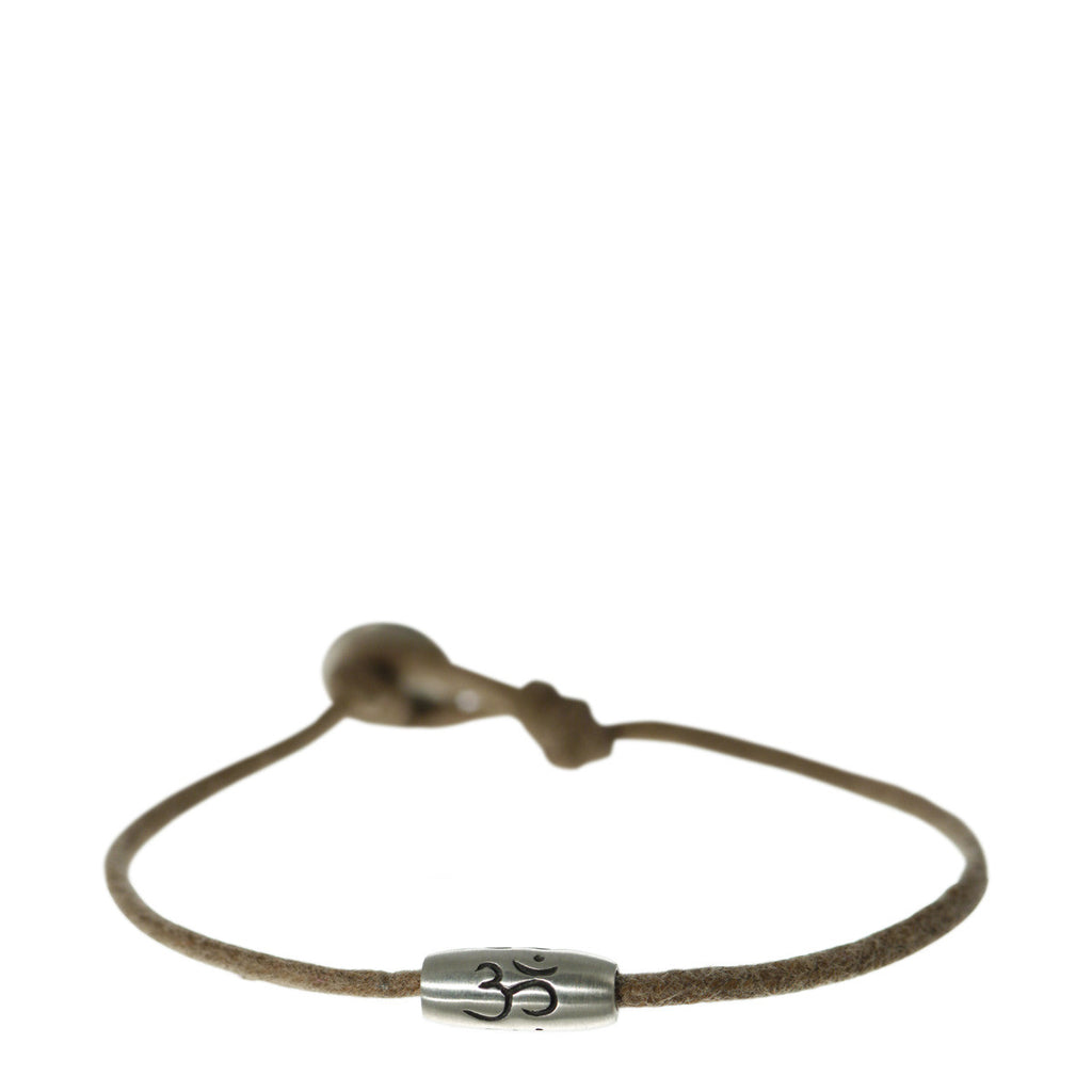 Men's Sterling Silver Barrel 'Om' Bead Bracelet on Cord