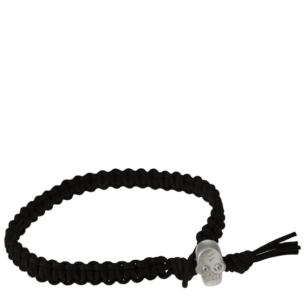 Men's Sterling Silver Macramé Skull Bracelet on Black Leather Cord