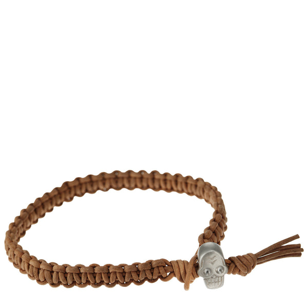Men's Sterling Silver Macramé Skull Bracelet on Natural Leather Cord
