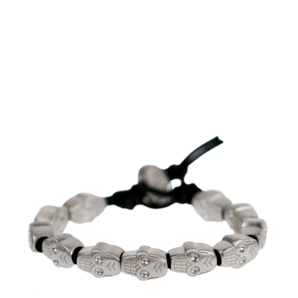 Sterling Silver All Skull Bead Bracelet on Black Cord