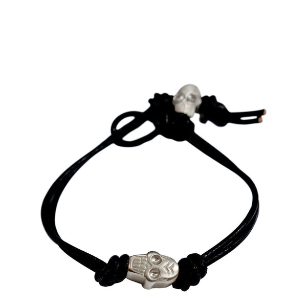 Sterling Silver Single Large Skull Bracelet on Black Leather Cord