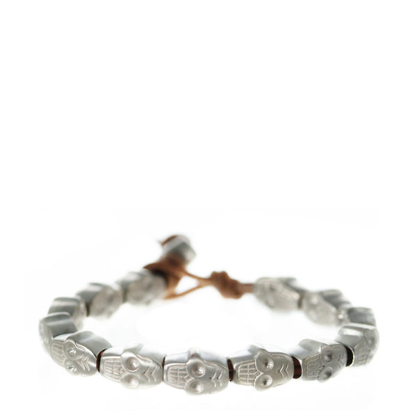 Sterling Silver All Skull Bead Bracelet on Natural Cord