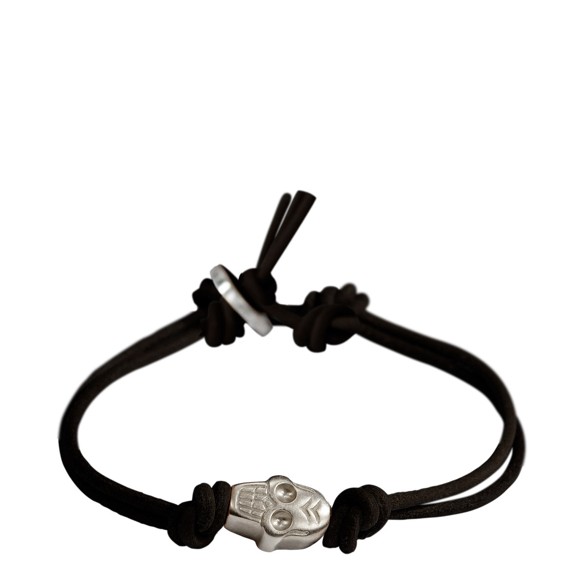 Men's Sterling Silver Single Large Skull Bracelet on Black Leather Cord with Button Closure
